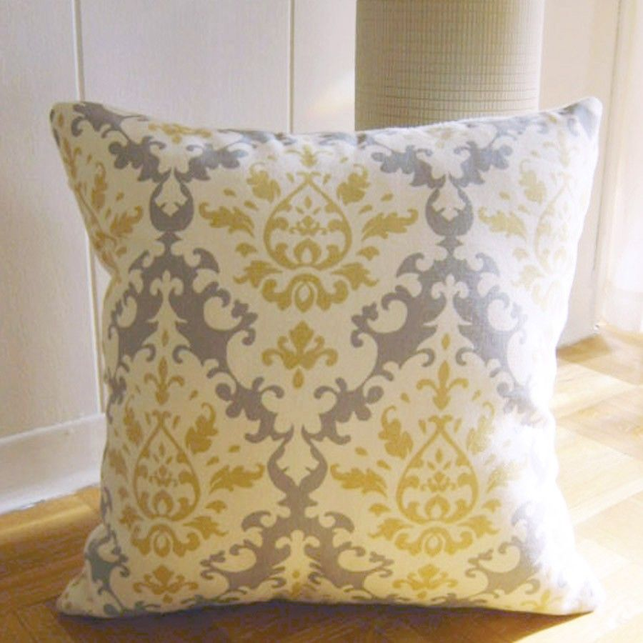 Throw Pillow In Damask Pattern Yellow Grey By Additionalcomfort