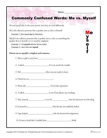 Me Vs Myself Worksheet Commonly Confused Words Commonly Confused Words Word Practice Confused