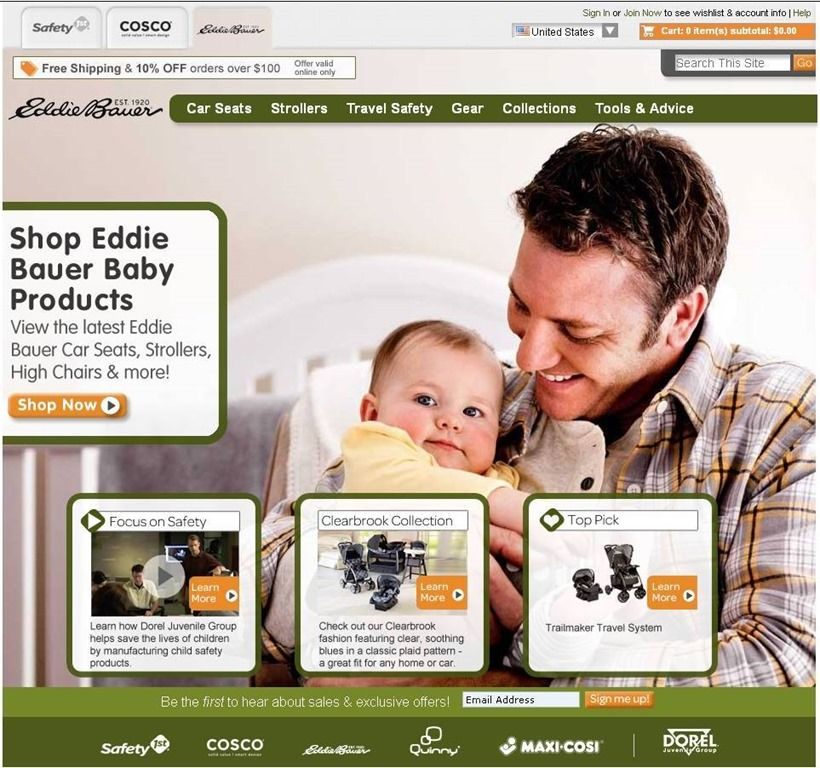 Safety 1st, Cosco and Eddie Bauer Baby ReLaunch Websites