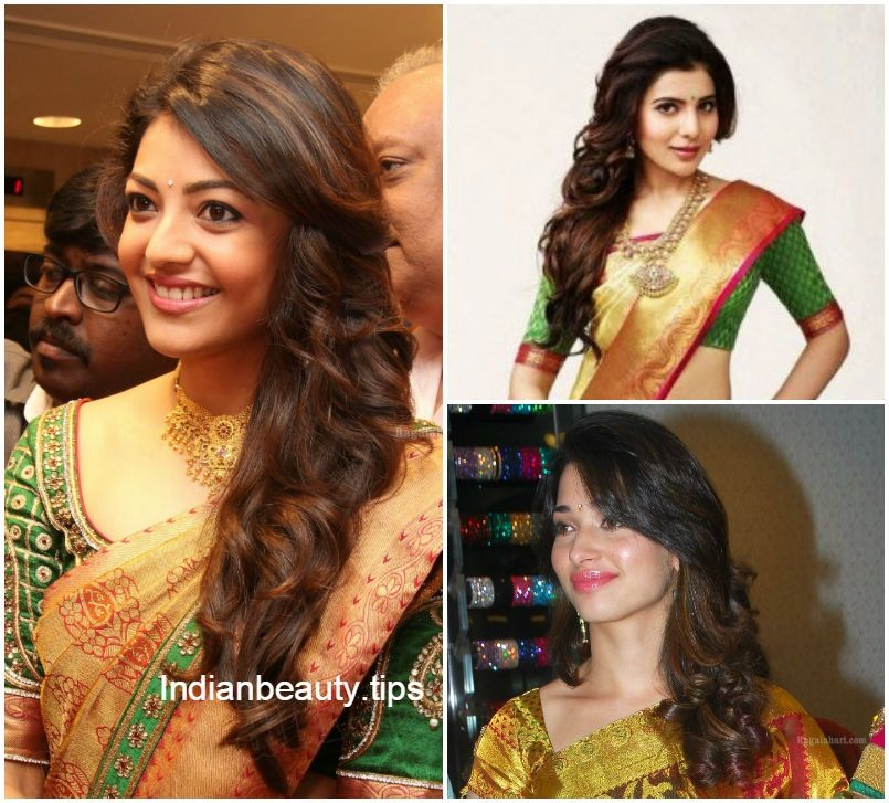 Hairstyles In Saree Cool Hairstyles Hair Styles Curly Hair Styles