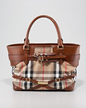 2f09ace8ef6 Belted Check Tote Bag, Medium by Burberry at Neiman Marcus.   wish ...