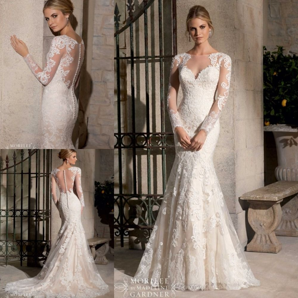 Where to find long sleeve wedding dresses  Find More Wedding Dresses Information about  Elegant Scoop Long