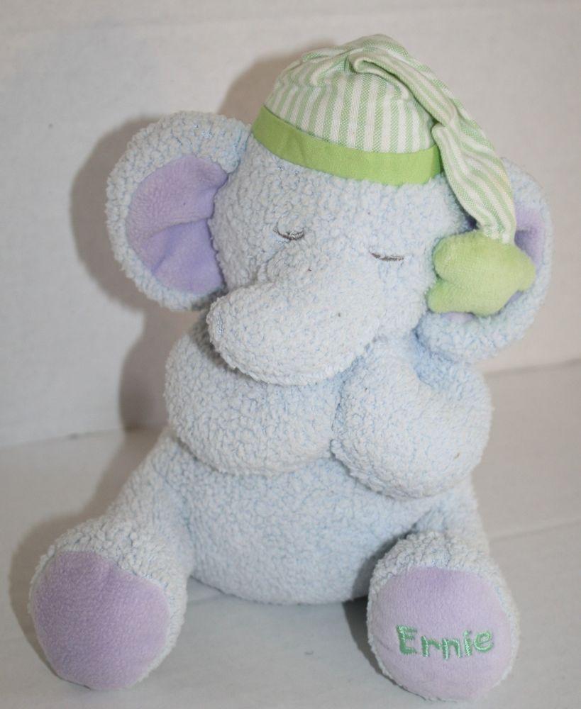 Kids Ii Plush Blue Ernie Elephant Prays Now I Lay Me Green Night Cap 7 2002 Kidsii Fur Real Friends Loveable Bitty Baby