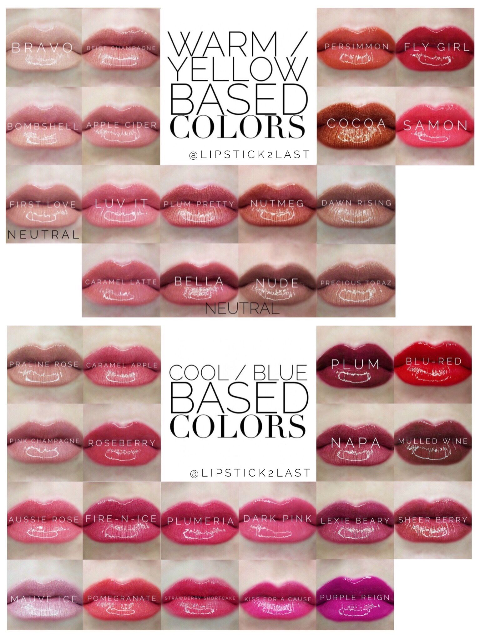 Warm and cool based LipSense colors All the current 36