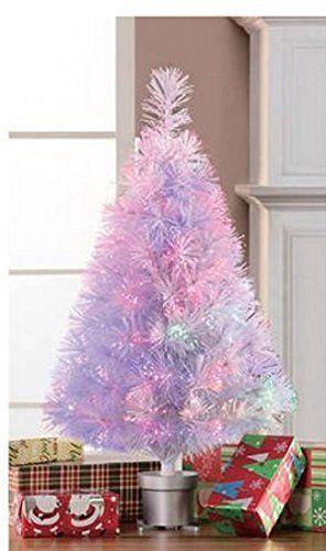 fiber optic small white christmas tree