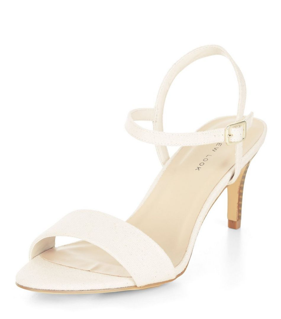 clearance sale classic shoes high quality Cream Canvas Mid Heel Sandals   New Look ------------ 19.99 ...