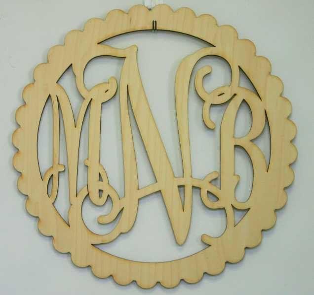 Scallop Laser Cut Wood Monogram Wall Art WA 401   Lazercraft ...