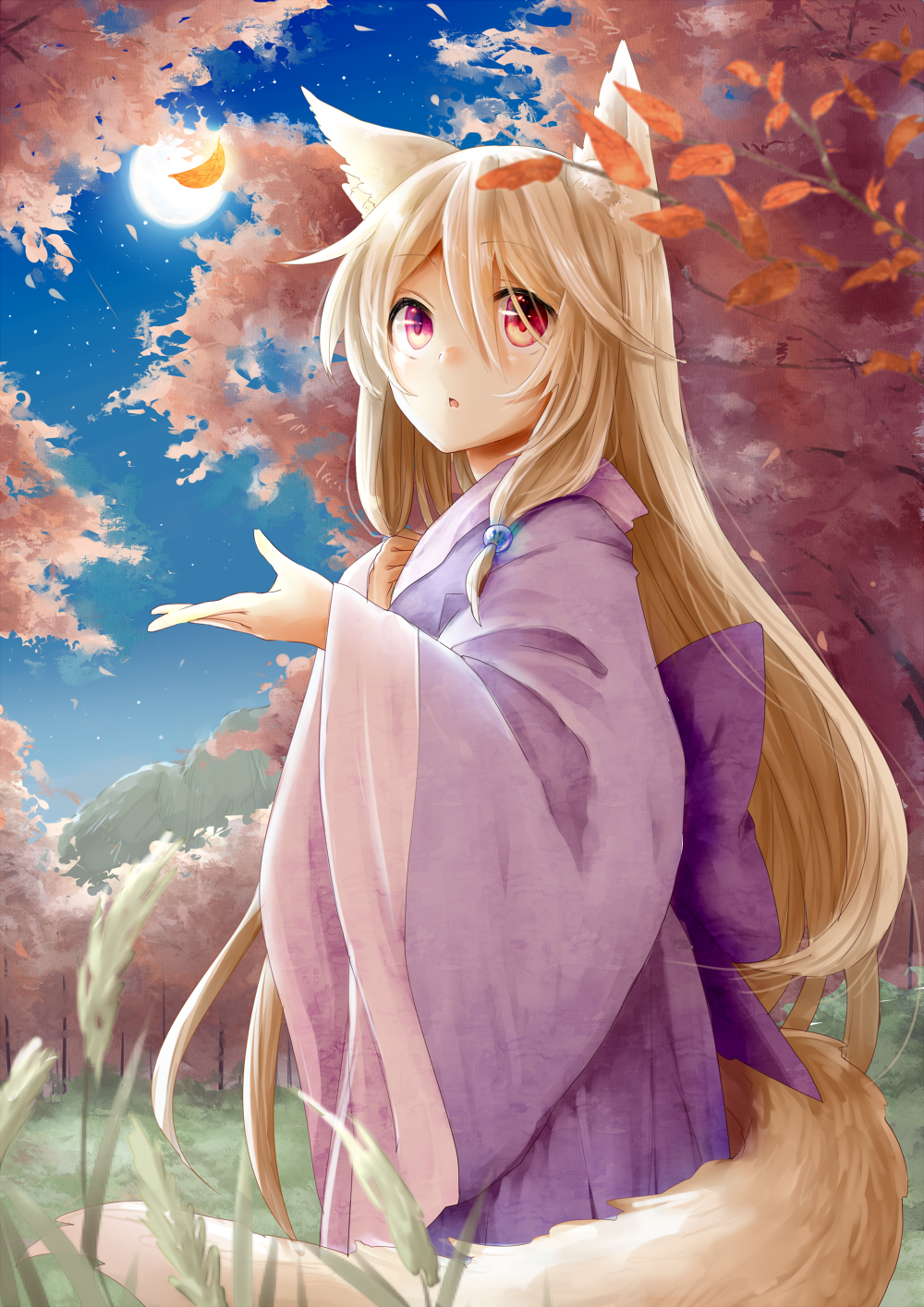 Anime kitsune in kimono
