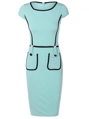 Cape Sleeve Pocket Spliced Pencil Dress - TURQUOISE L Mobile