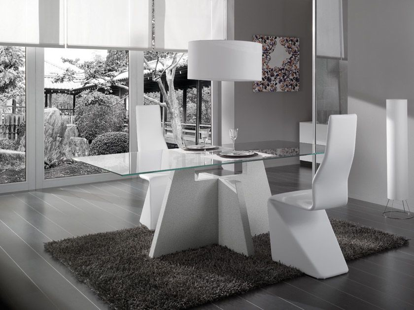 Contemporary Creta Dining Table In Glass And High Gloss White Or Marble  Black