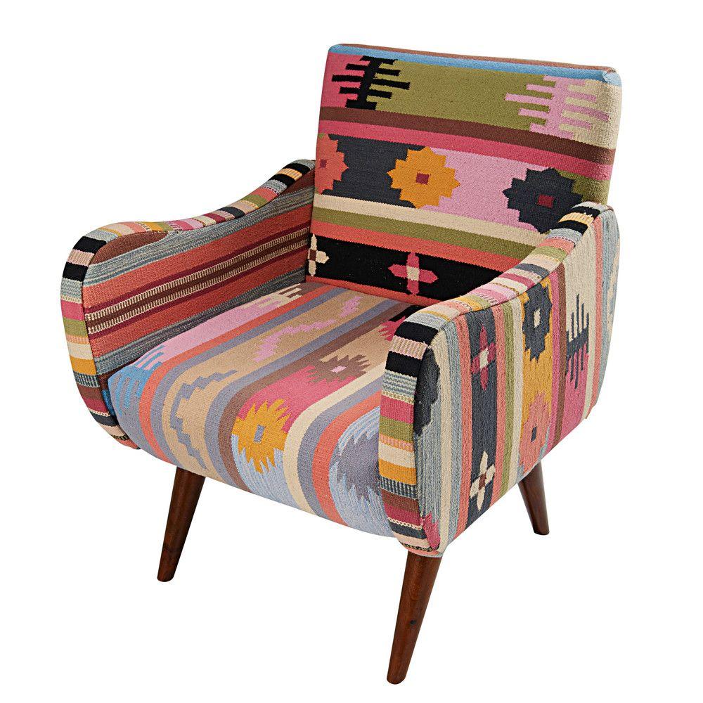 430 Fauteuil En Tressage Kilim Multicolore Et Manguier Armlehnen Mangoholz Sessel