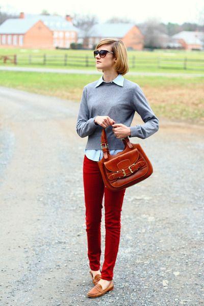ruby red zara skinny jeans, sky blue button down, gray sweater ...