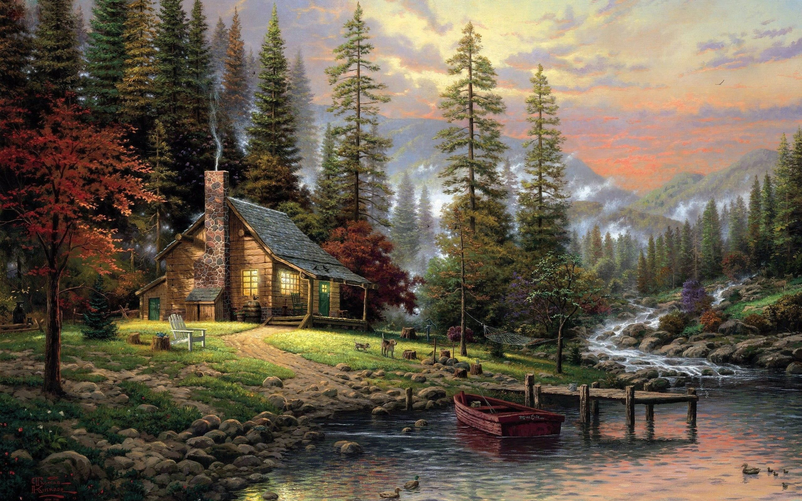 Brown Wooden House Near On River Painting Mountains Nature Landscape River Painting Forest Pier Boa In 2020 Thomas Kinkade Landscape Poster Landscape Paintings