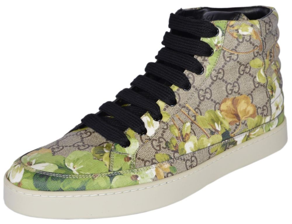 64ee72bed NEW Gucci Men's 407342 GG BLOOMS Coated Canvas Coda High Top Sneakers Shoes  #Gucci #FashionSneakers