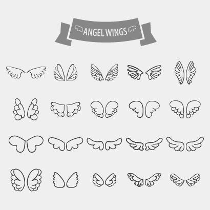 天使の羽根鳥の翼アイコン ベクターイラスト素材 Reference Animal