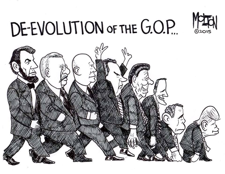 Image result for cartoon depicting the new republican/trump party
