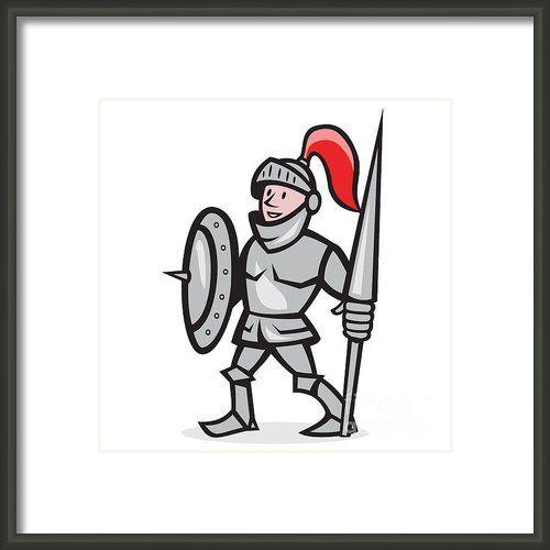 Knight Shield Holding Lance Cartoon Framed Print By Aloysius Patrimonio
