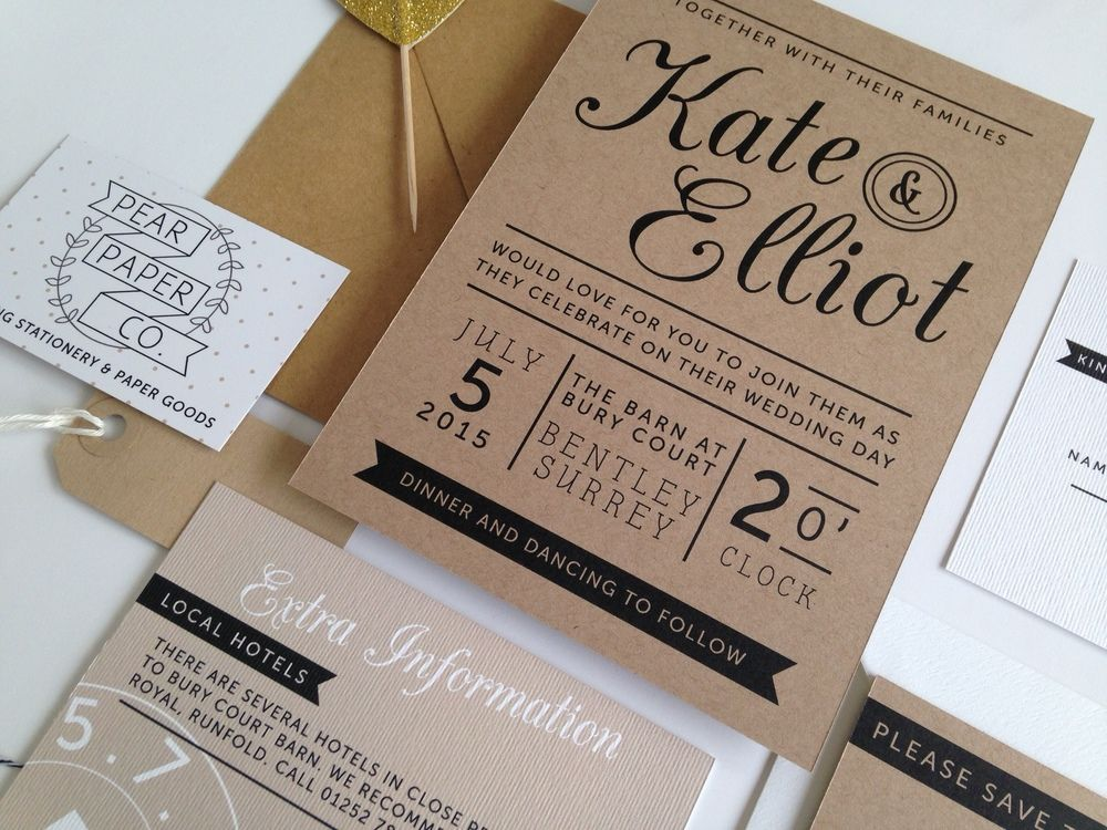 The Kraft Stamp Suite // Pear Paper Co. Wedding Stationery | Ur ...