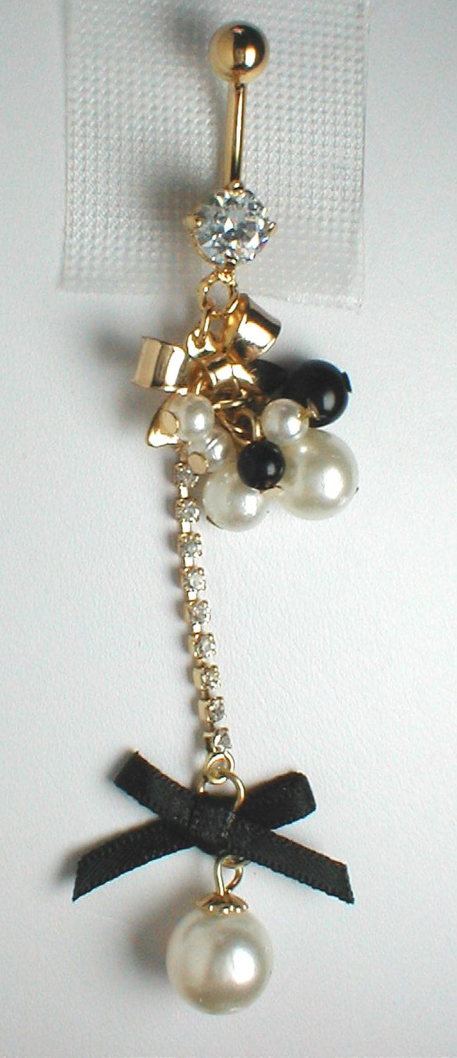 Black around belly piercing  Unique Belly Ring  Black Bow and Pearls Pendant On Belly Ring