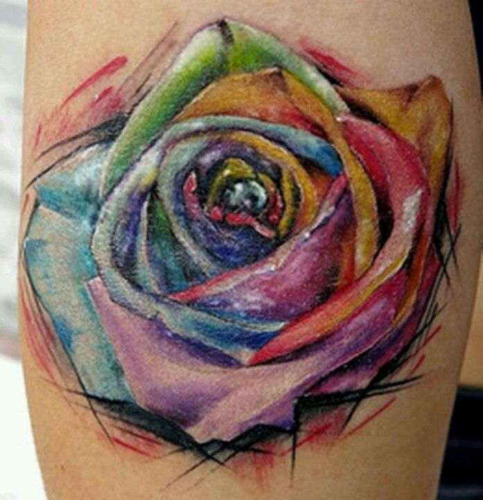 Multicolored Rose Tattoo Inspirations Tattoos Rose Tattoos