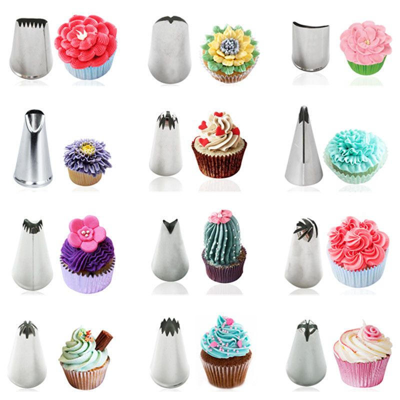Stainless Steel Icing Piping Nozzles Cake Cupcake Decorating Tips Baking Tool Cupcake Decorating Tips Creative Cake Decorating Cake Decorating Piping