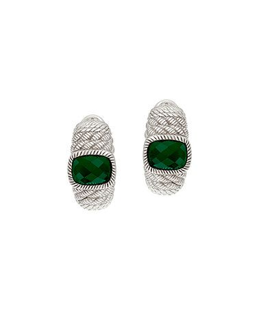 Look at this #zulilyfind! Green Chalcedony & Sterling Silver Huggie Earrings #zulilyfinds