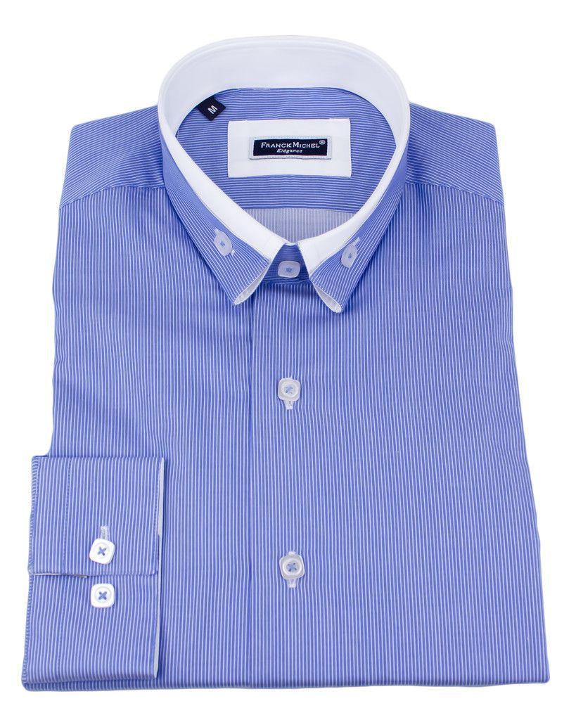 Men's Double collar shirts - Andrea 2 blue | UrUNIQUE.com