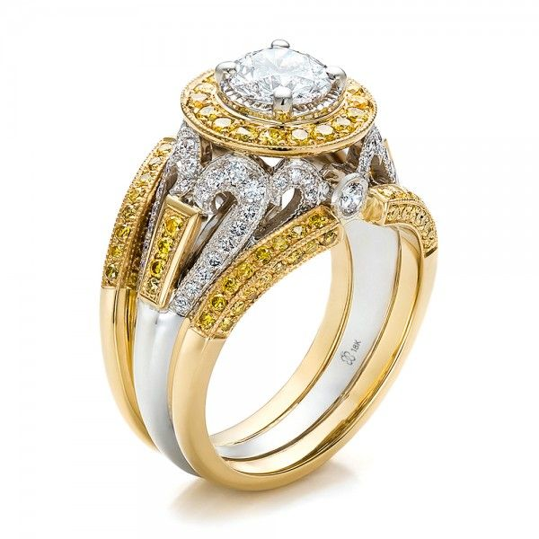 custom two tone gold and yellow and white diamond engagement ring - Gold Diamond Wedding Rings