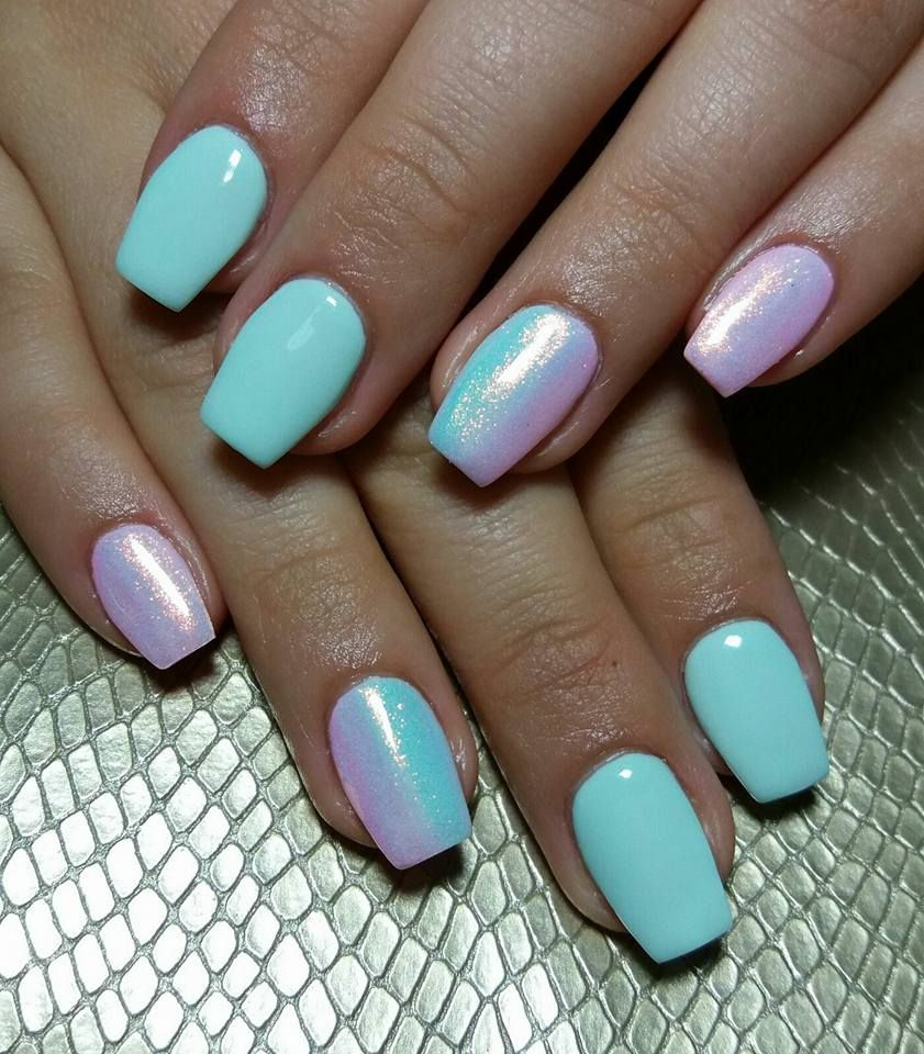 Nails Gel Blue Pink Glitter Mermaid | Ideas para uñas | Pinterest ...