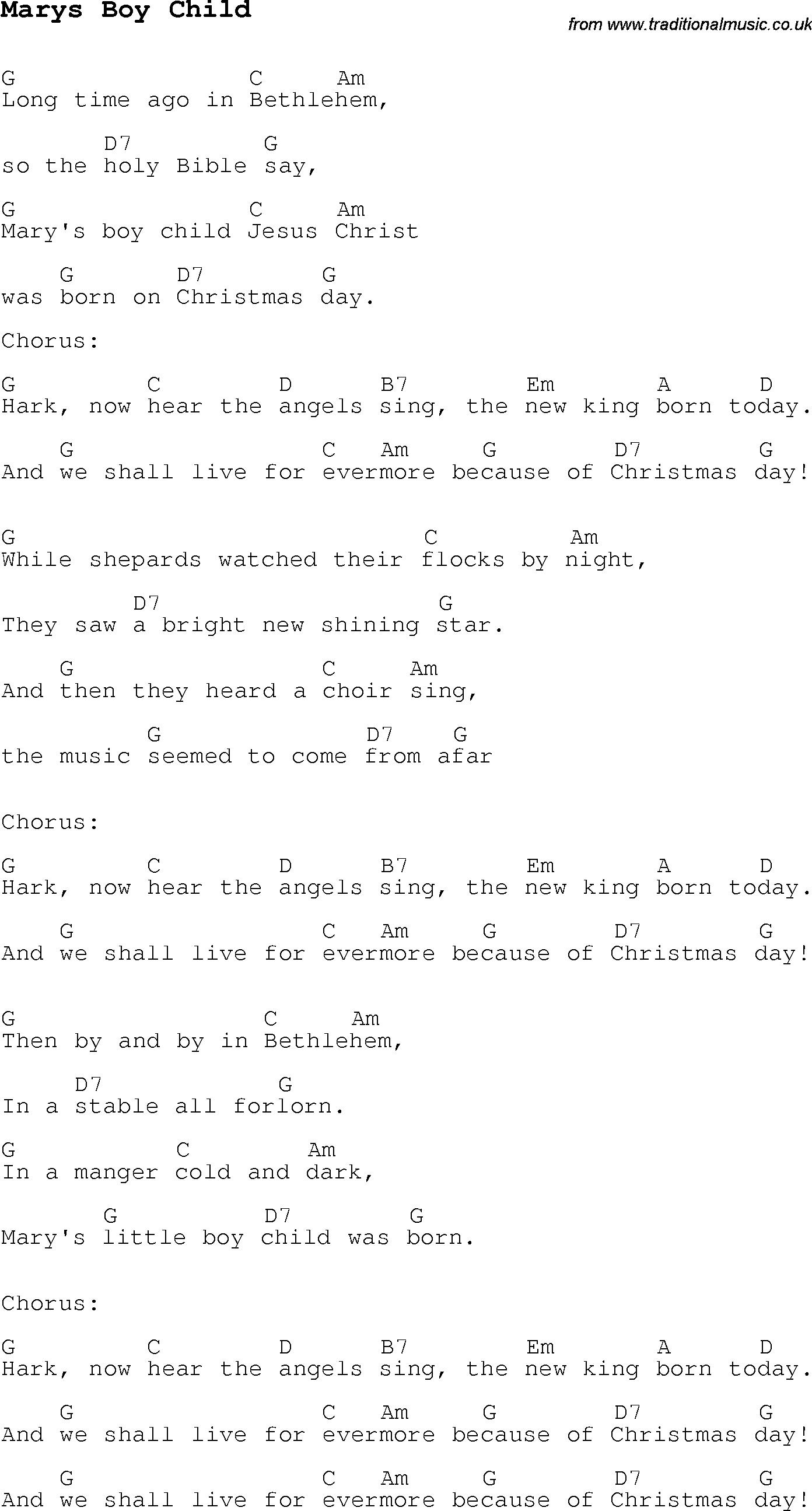 Christmas Songs And Carols Lyrics With Chords For Guitar Banjo Uke String Diagram Related Keywords Suggestions Marys Boy Child