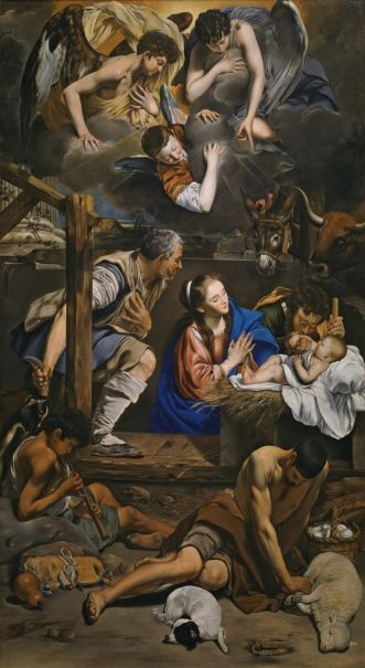 Fray Juan Bautista Maíno, The Adoration of the Shepherds, 1612 - 1614. Oil on canvas, 314.4 x 174.4 cm. Museo Nacional del Prado © Museo Nacional del Prado.