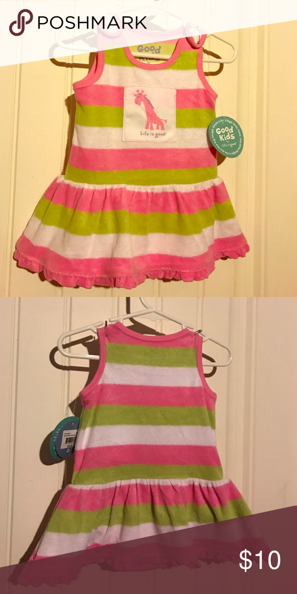 Life is good 6-12 months terrycloth dress NWT NWT life is good giraffe striped terrycloth tank dress. Size 6-12 months Life is Good Dresses Casual