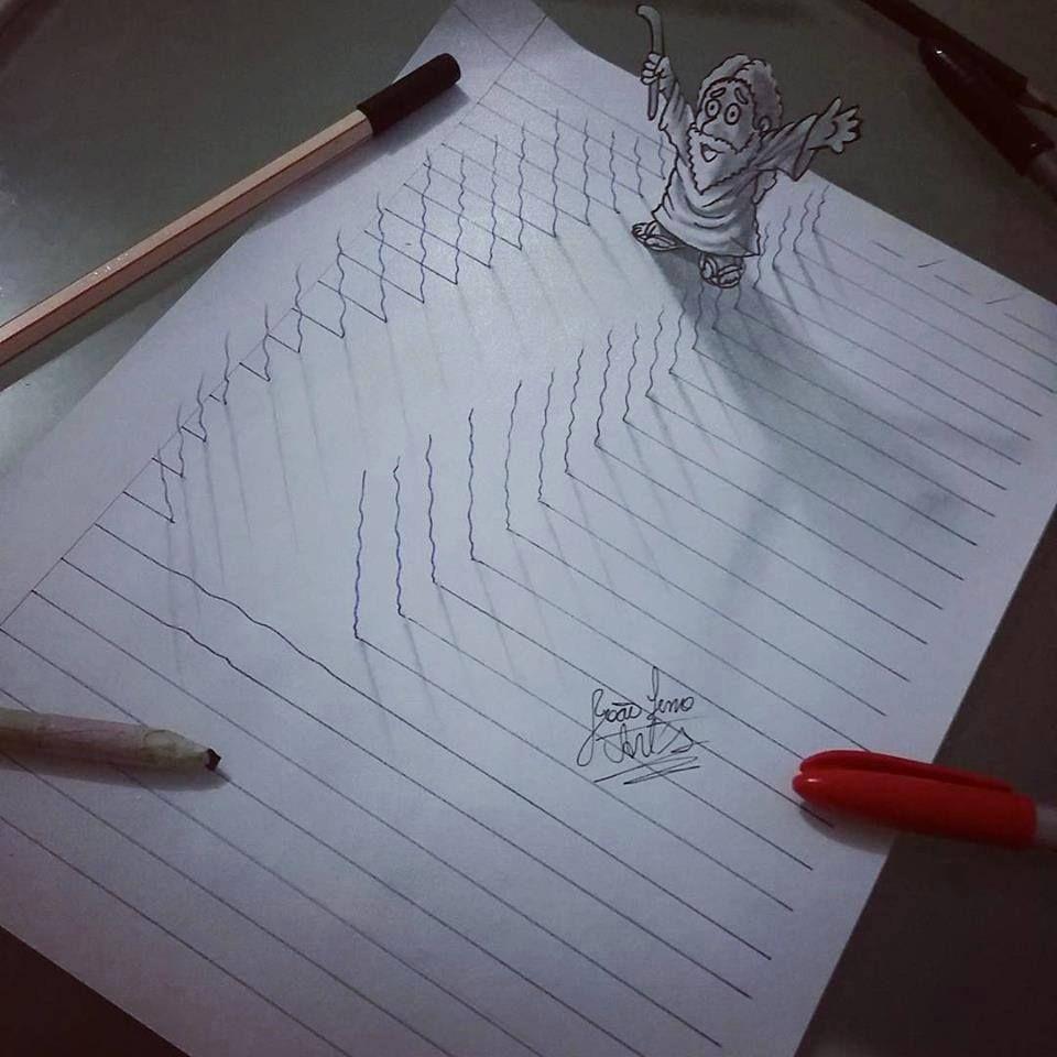 Con 16 Anos Crea Dibujos En 3d Que Saltan Del Papel Notebook Drawing Illusion Drawings 3d Artwork