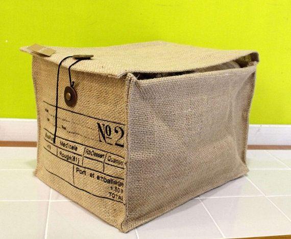 Number 2 100% Natural Jute Clothes Storage Box / Messenger Storage  /document Fabric Storage Basket / Kitchen Storage Box P031