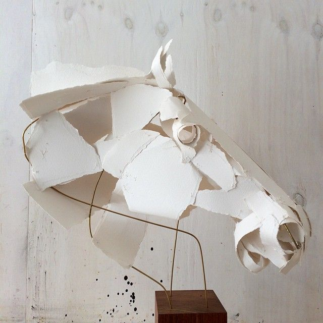 Anna-Wili's sculptures (Instagram) are stitched together from archival  cotton rag. Her works explore the organic qualities and resistance of  paper, generating a tension between the complex realism of form and the  limitations and economy of the materials used. They represent animal life  in an immediate way that conveys the energy, movement and physical  character of different creatures. Her aim is to engineer a moment of  contact with nature in a way that emphasises both the startling…