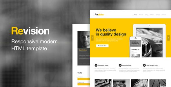 Revision - Responsive HTML5 Template Template and Responsive slider