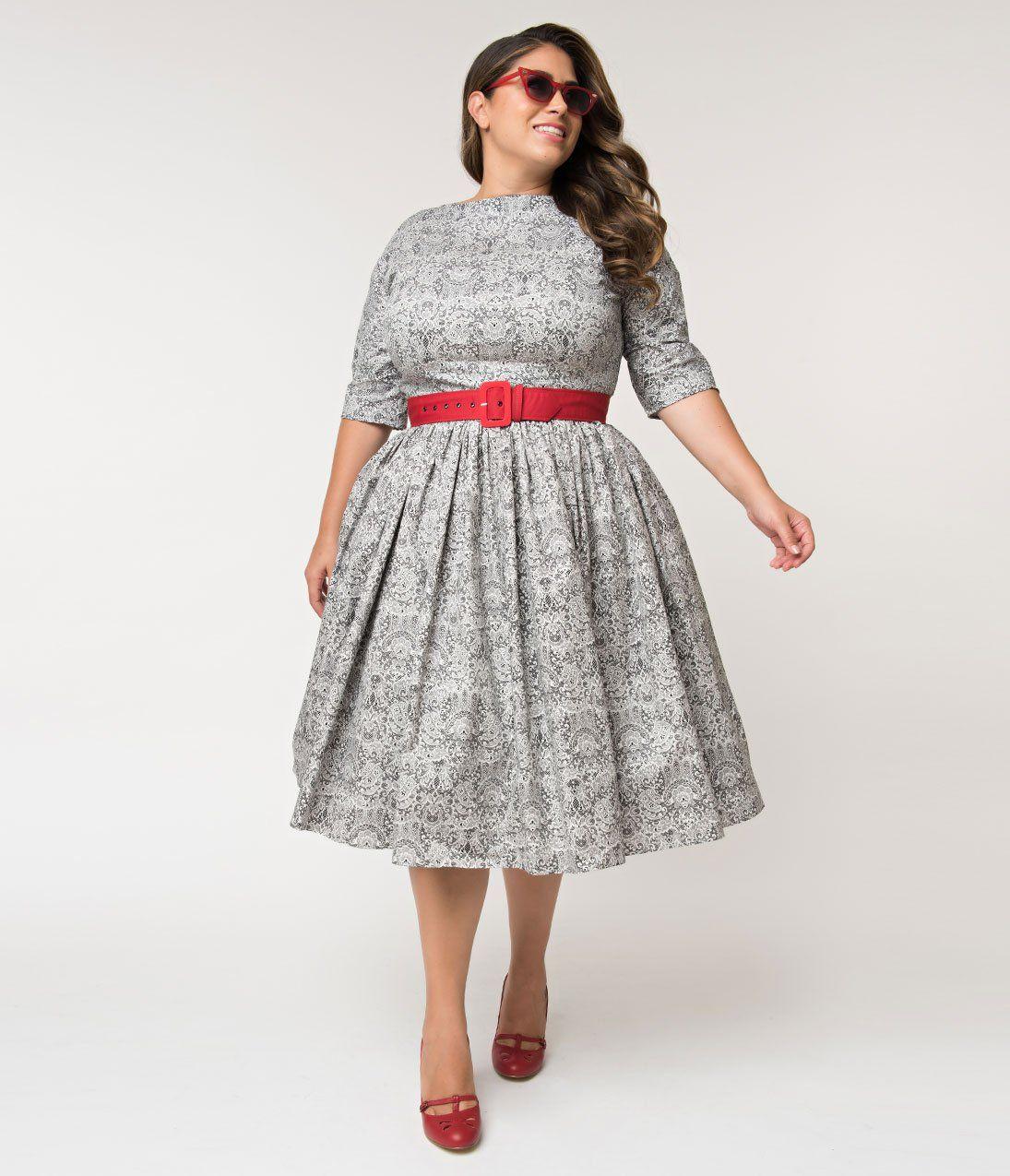 Https Www Unique Vintage Com Products Unique Vintage Plus Size 1940s Style Black White Lace Print Sleeved Sally Swing 1940s Fashion Lace Print Unique Dresses