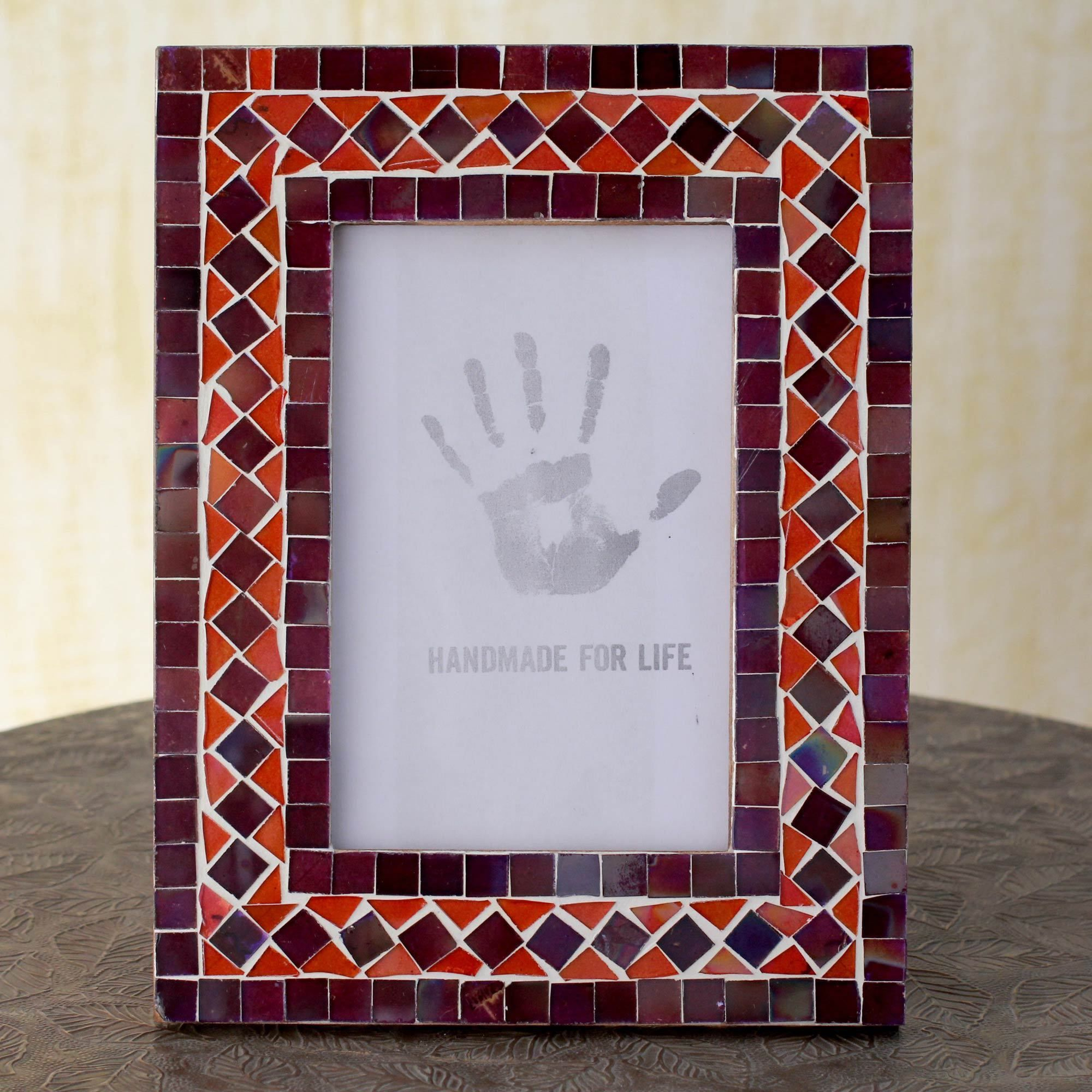 Handcrafted Glass Mosaic \'Lilac Coral\' Photo Frame (India ...