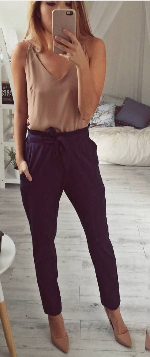 #spring #fashion #outffitideas  Nude Top + Work Up Pants