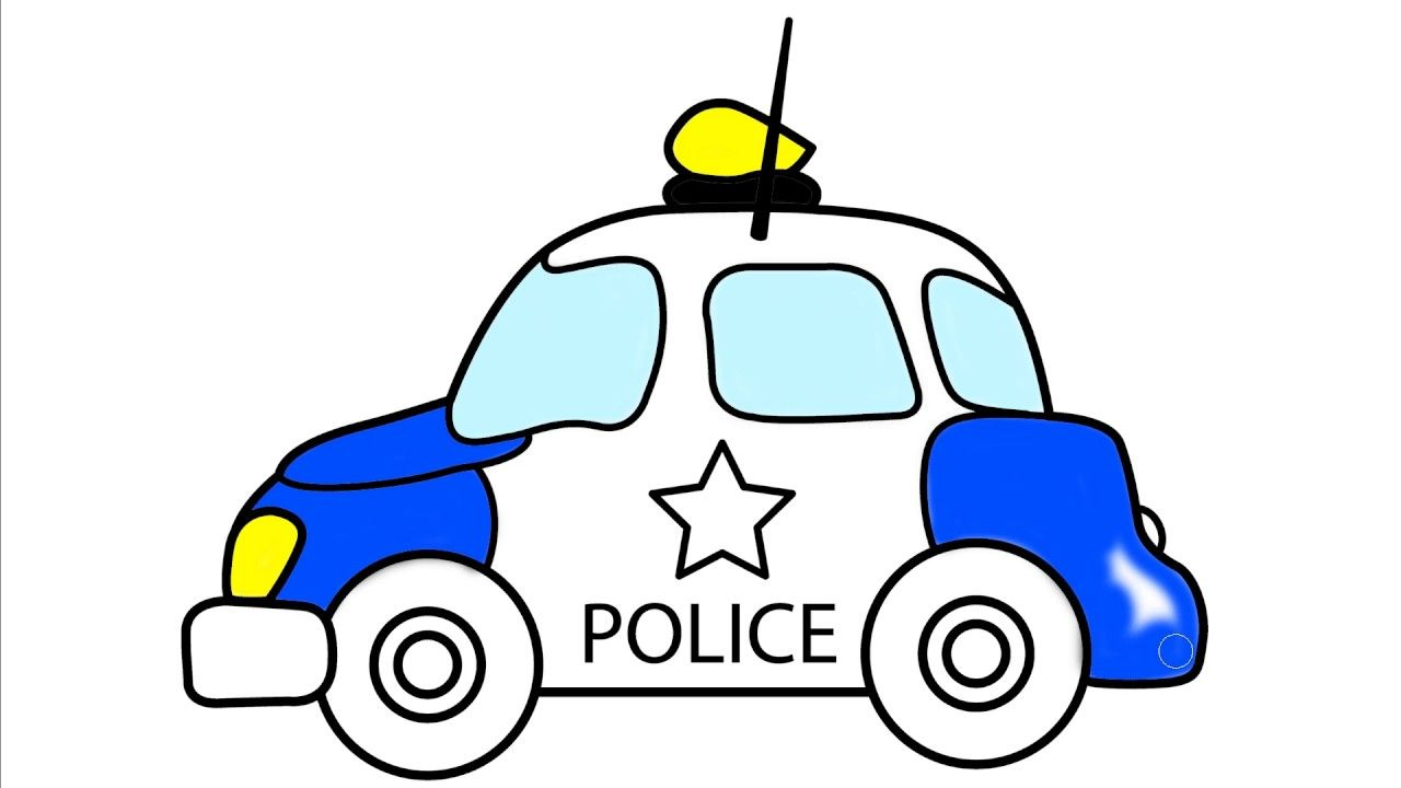 How To Draw Police Car Cars Coloring Pages For Kids Car Drawing Kids Cars Coloring Pages Car Drawings