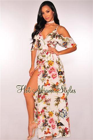 ce799d320 White Floral Garden Ruffle Off Shoulder Wrap Maxi Dress | Clothes ...