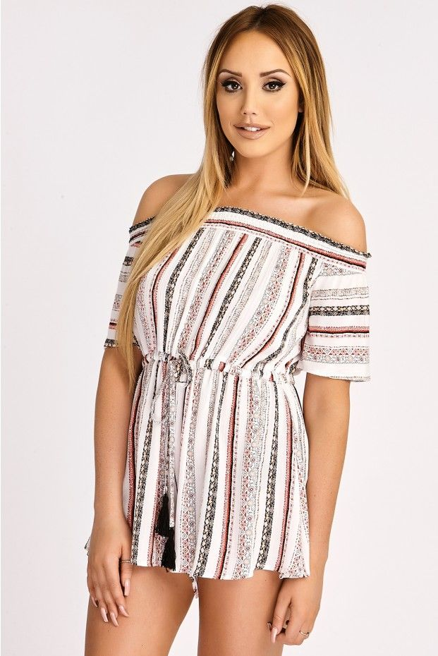11e5938883a CHARLOTTE CROSBY TRIBAL STRIPE OFF SHOULDER PLAYSUIT