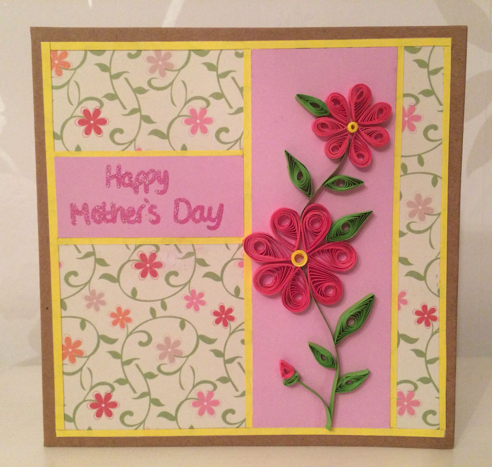 Handmade quilled flowers motherus day card my handmade cards