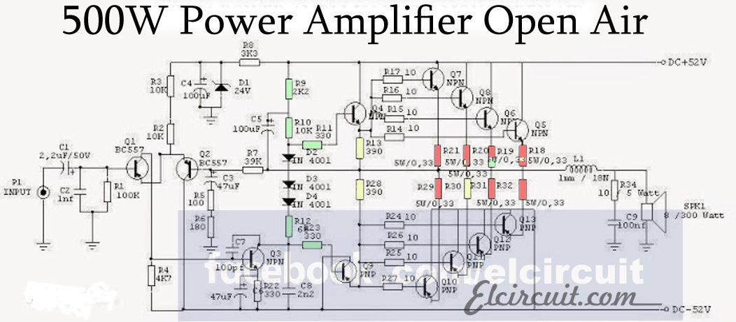 500w Audio Power Amplifier Circuit Diagram Circuit Diagrams ... on