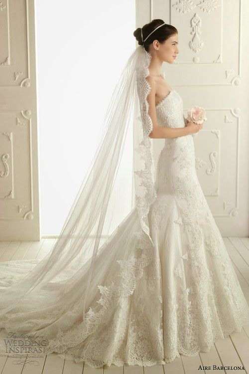 Magnificient aire barcelona wedding dress with long veil for Long veils for wedding dresses