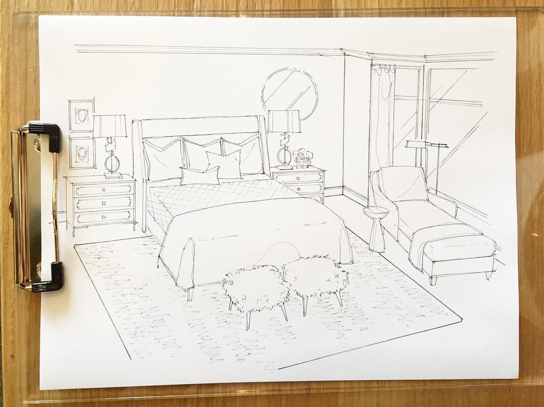 The loveliest master bedroom sketch (designed by Kendra ... on Bedroom Reference  id=60247