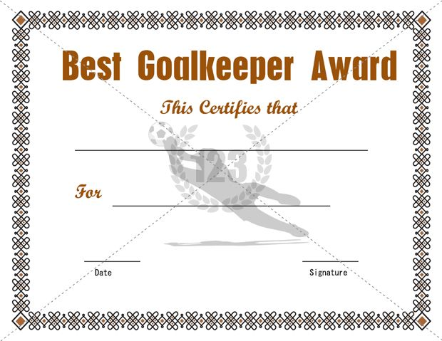 Best Goalkeeper Award Certificate Template Free Download