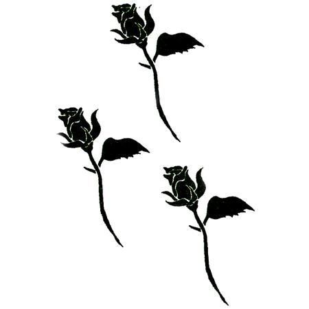 Three Black Roses Tattoo by Raven. $1.50. Temporary Tattoo. 1x1.75. In Stock. Three tattoo images of a single black rose, the harbinger of death.