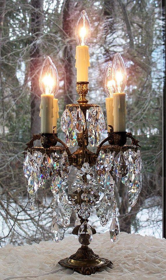 Vintage Crystal Chandelier Brass Candelabra Table Lamp