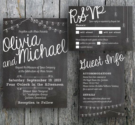 Printable chalkboard wedding invitation with string lights Invite